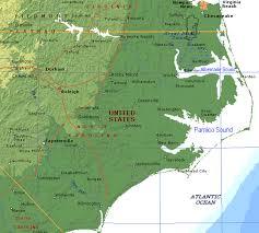 Map Of Carolinas North Carolina Outer Banks Albemarle Sound And Pamlico Sound