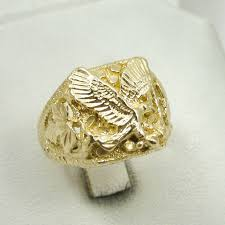 large gold ring necklace images Brand new solid 10k yellow gold large mens eagle leaf nugget ring jpg