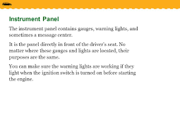 Ford Escape Warning Lights - lesson 3 1 controls devices and instruments ppt video online