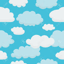 clouds on light blue sky seamless background with pattern in