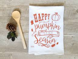 pumpkin spice tea towel autumn kitchen towel fall flour sack