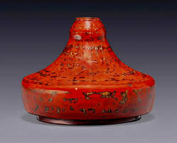 Red Lacquer Vase French Designer Jean Dunand