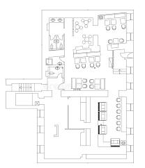 floor planning standard cafe furniture symbols on floor plans stock vector