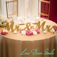 mr mrs wedding table decorations gold glitter mr and mrs wedding signs for sweetheart table decor