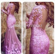 light purple long dress 2015 prom dresses light purple long sleeve see through lace applique