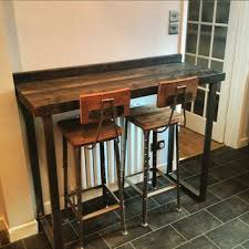 diy bar height table reclaimed industrial 4 seater chic tall poseur table wood metal