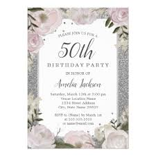 sparkle pink silver floral 50th birthday card invitations custom