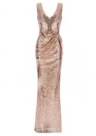 goddiva dresses v neck sequin maxi dress with bow detail in chagne