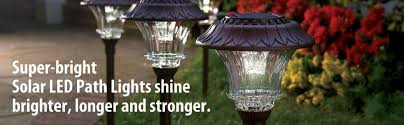 Bright Solar Landscape Lights Set Of 4 Solar Garden Path Lights Glass And Powder