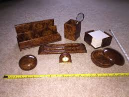Desk Accessory Set by Executive Desk Accessory Set In Luxury Polished Wood Finish In
