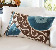 Pottery Barn Lumbar Pillow Covers Applique Embroidered Blue And Brown Lumbar Pillow Cover