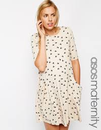 asos swing dress with pockets in bird print with half sleeve in