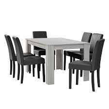 Esszimmer Bei Amazon En Casa Esstisch Eiche Weiß Mit 6 Stühlen Dunkelgrau Kunstleder