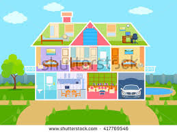 vector illustration house cut view detailed stock vector 417769579