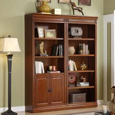 home decoration dark brown wood bookshelves with sliding glass