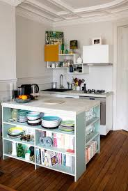 Open Shelves Kitchen Design Ideas by Small Turquoise Island With Open Shelves Solid Hardwood Flooring