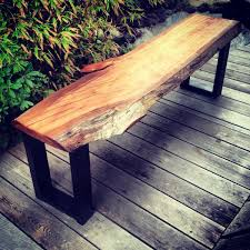 custom live edge eucalyptus bench by timber library