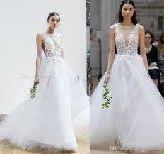 oscar de la renta brautkleid discount 3d flora appliques open v back wedding dresses