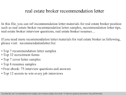 Real Estate Broker Resume Sample by Real Estate Broker Recommendation Letter