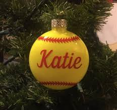 softball ornament personalized