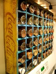 dining room unique wooden of coca cola wall mounted spice rack in