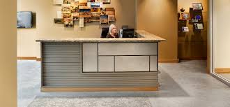 compact office decoration shaped receptionist desk office front
