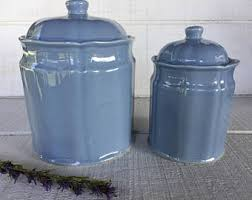 blue kitchen canister coffee sugar flour etsy