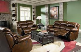 nice green wall black green leather couch with cream curtains can