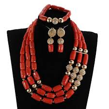 fashion beads necklace images Fashion 3 layers coral and gold african beads jewelry set nigerian jpg