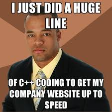 Web Meme - i just did a huge line of c coding to get my company website up to