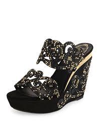 suede u0026 strass wedge slide sandal black gold women u0027s size 40 5