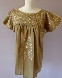 embroidered mexican wedding dress blouse beige beige sml med