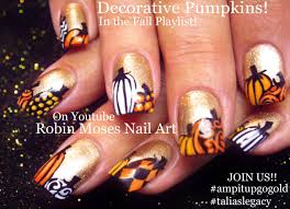 thanksgiving fingernail designs fall nail art gold nails with pumpkins nail design tutorial go