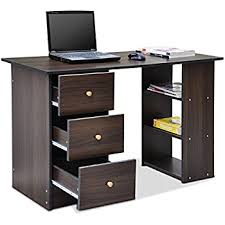 tinxs black brown large computer desk pc table with 3 drawers u0026 3