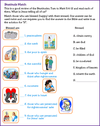 beatitudes matching worksheet sunday jesus teaches