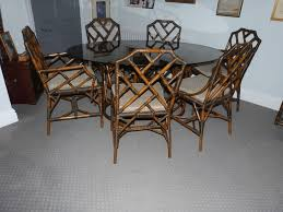 hand made cane oval dining table with 6 dining chairs and side