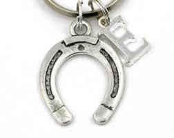Personalized Horseshoe Horse Shoe Keychain Etsy
