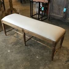 upholstered bench with fluted legs nadeau miami