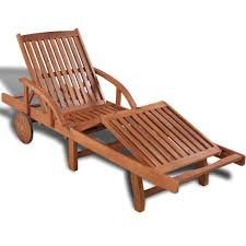 Reclining Patio Chairs Garden Patio Chaise Lounger Sun Bed Chair Wooden Folding Reclining