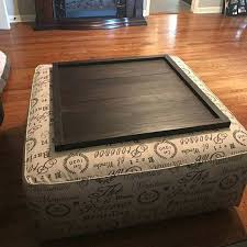 Ottoman With Table Ottoman With Table Top Top Brown Leather Ottoman Coffee Tables
