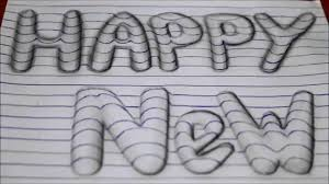 how to draw happy new year 3d art easy line on paper optical