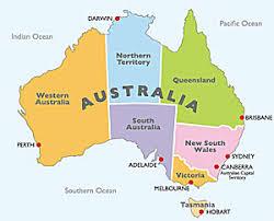 states australia map map of the states of australia major tourist