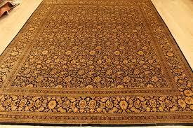 Black Persian Rug Large 10x8 Silk Black Gold Qom Persian Rugs Gorgeous Qum Carpets