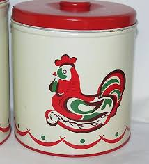 tin kitchen canisters vintage 3 pc decoware metal tin kitchen canister set with roosters