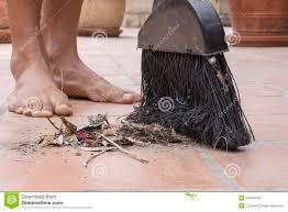 Patio Broom by Barefoot Closeup Sweeping Outdoor Patio Floor Stock Photo Image