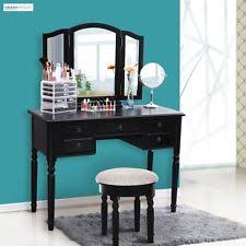Mirrored Vanity Set Vanity Set Stool And Folding Mirror Make Up Dressing Table 3