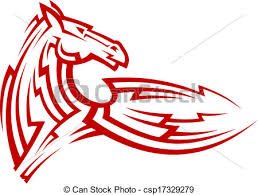 vectors illustration of red tribal mustang horse tattoo red