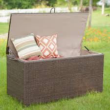 Waterproof Patio Storage Bench by Storage Winsome Rattan Plastic Garden Storage Bench
