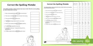 year 5 and 6 correct the spelling mistakes activity sheets