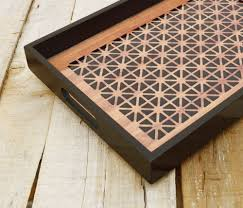 Home Decor Accessories Online by Geometrical Print Wooden Tray Resin Finish Lacquered Frame